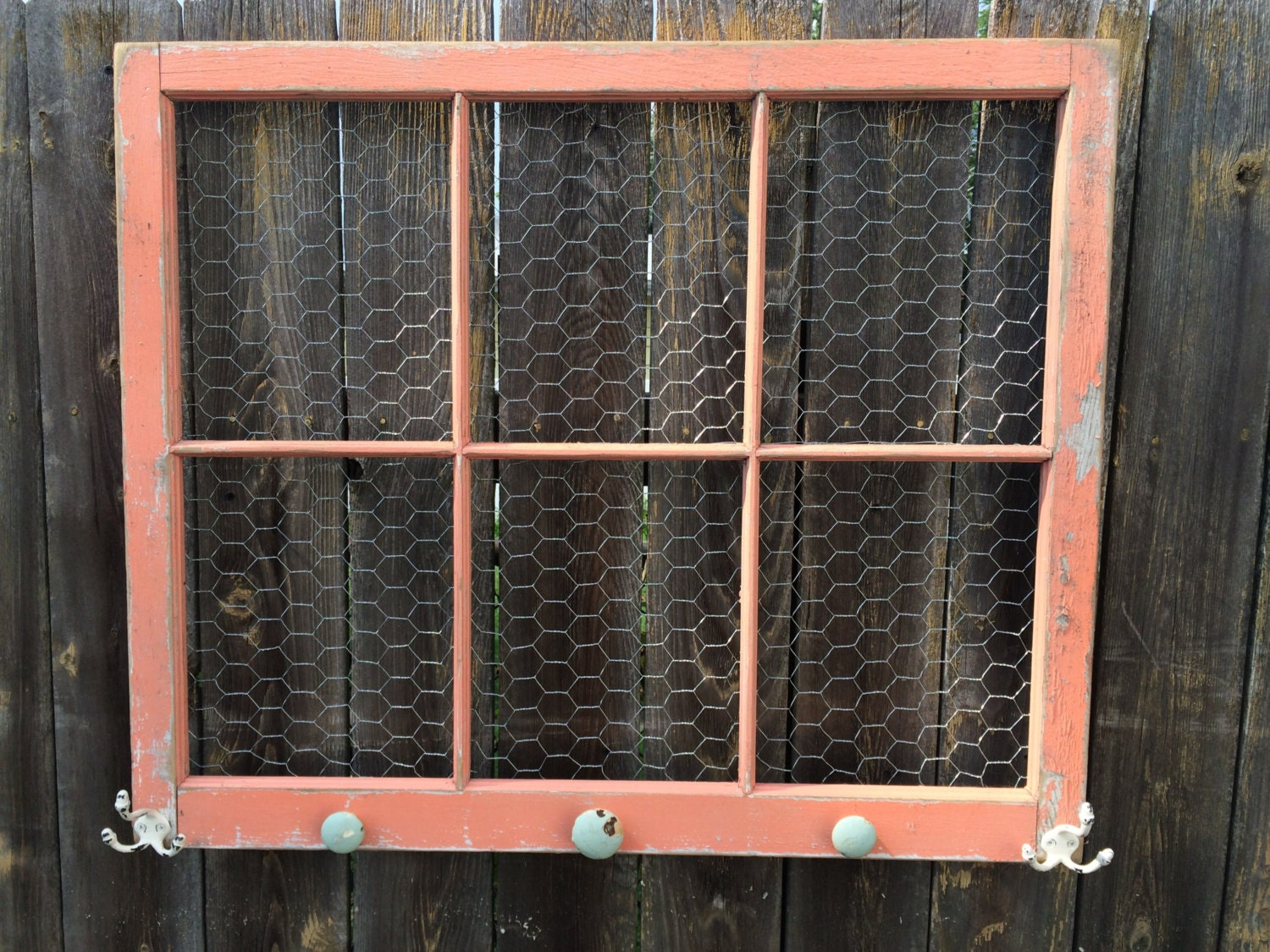 Reclaimed OLD WINDOW Shabby Chic Coral Frame Chicken Wire