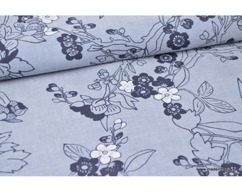 Broadcloth, chambray denim fabric blue branches