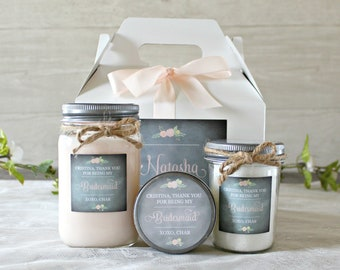 Bridesmaid Spa Gift Set / Thank you gift for Bridal Party / Personalized Bridesmaid's Gift / Soy Candle / Bath Salt / Sugar Scrub