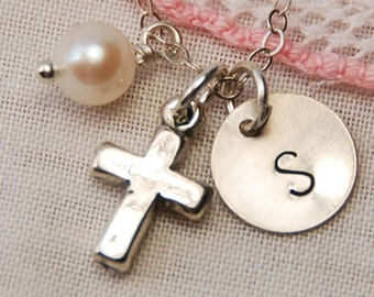 First Communion Gift, Flower Girl Necklace with Heart Pearl and Cross, Sterling Silver Child Necklace Gift, Personalized Tiny Faith Necklace