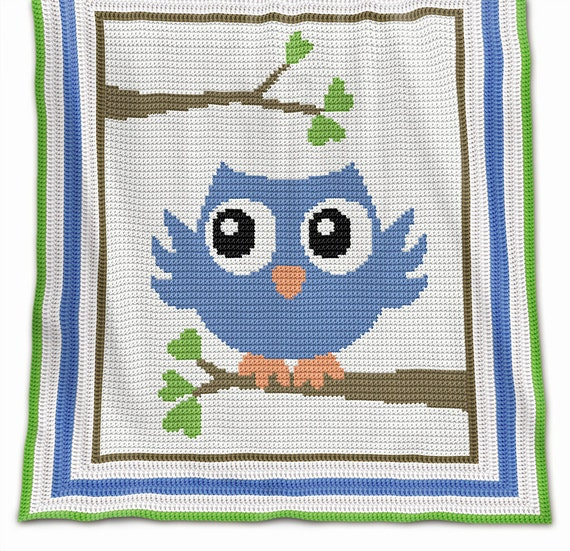 Crochet Pattern Baby Blanket Pattern Blue Owl Crochet