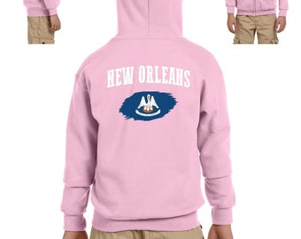 New Orleans Louisiana Youth Full-Zip Hooded Sweatshirt