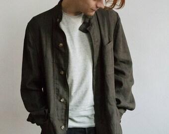 Khaki Safari Type Linen Jacket