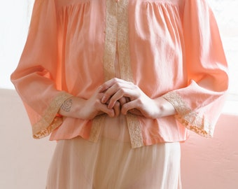 Antique 1930s silk and lace blouse bed jacket Art Deco