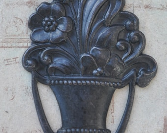 Flower basket brass stamping, Black Satin Finish, Art Nouveau, Craft Supplies, Jewelry Supplies Made in the USA, Scrapbooking