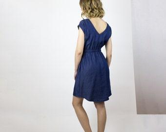 Milan Blue cotton dress, Lightweight denim dress, Eco friendly spring dress, sustainable fashion