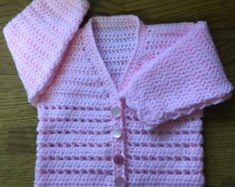 Printed Baby Crochet Cardigan Pattern in DK. Sizes Birth to 6 years (1003)