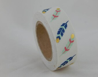 Feather Print Washi Tape With Gold Foil Accents, Gift Packaging, Cards, Scrapbooking, Favors, Paper Crafts