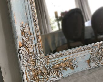 Blue and Gold French Farmhouse Mirror, Farmhouse Vanity Mirror, Bathroom Mirror, Ornate Mirror