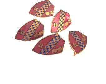 Antique Red Enamel Shield Crest Findings, 18mm x 12mm, Enamel on Copper, Antique French Findings (4)