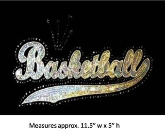 CLOSEOUT SALE Basketball (word) Sequins and Rhinestone Transfer Applique ONLY