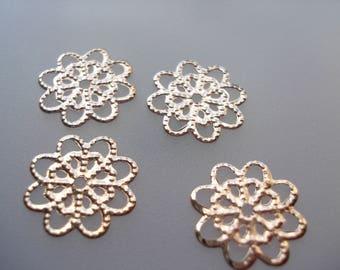 14mm Filigree Stamping Embellishments, Rose Gold Flower Embellishments, Pack of 50 Embellishments, 4p Each!! C556