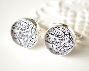 Harvard University Map Cufflinks - vintage black and white map - Cambridge, Massachusetts