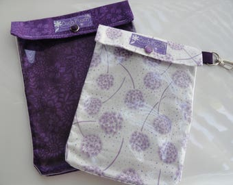 Violet Floral Ouch Pouch 2 Pack (Large 6x8, Medium 5x7) Clear Front Baby Shower Favor Gift Set First Aid Diaper Bag Organizer