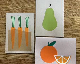Assorted Fruit and Veggie Cards (pack of 6)