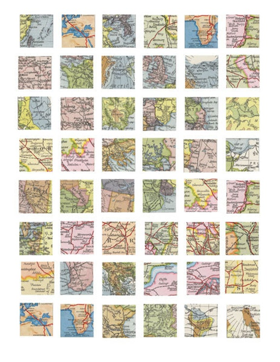 vintage world maps clipart digital download collage sheet 1 inch squares vintage images pendant jewelry making printables