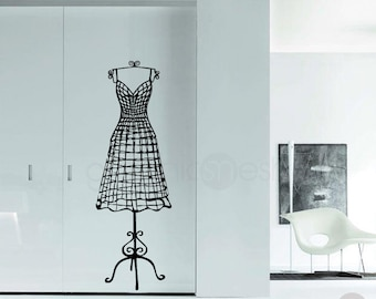 WIRE DRESS FORM decorative mannequin wall decal - Interior decor by GraphicsMesh
