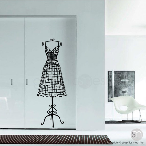WIRE DRESS FORM decorative mannequin wall decal Interior