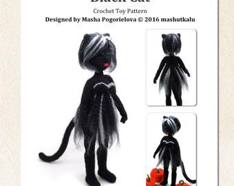Black Cat - crochet toy pattern, amigurumi pattern, Halloween doll, photo tutorial