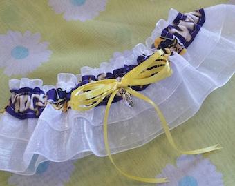 Minnesota Vikings Inspired Sheer Football Wedding Garter Belt