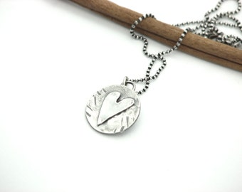 Heart Charm Necklace Silver Jewelry  Rustic Earthy Simple Jewelry Eco friendly Metal Work  Artisan Made Hancrafted Gifts For Her