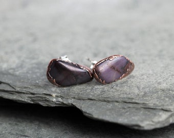 Sugilite Earrings - Stone Posts - Sterling Silver Studs - Natural Purple Stone - Electroformed Jewelry