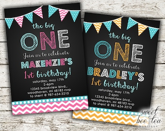 Baby Boy or Girl Birthday Invitation - Printable Invite - First 1st Birthday One - Chalkboard - Polka Dot Chevron - Bunting Flags