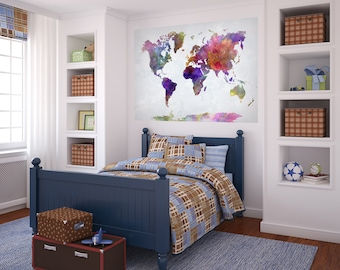 Wall vinyl world map decal removable vinyl mural sticker world map watercolor paint poster mural decal sticker wall vinyl or fabric geography countries continents peel gumiabroncs Images