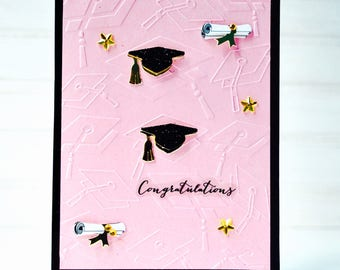 GIRLS' GRADUATION Greeting Card - Unique Handmade High School College Graduate Card / Blank Greeting Card / One-of-a-Kind Card / For Her
