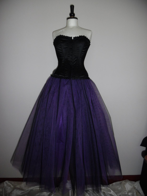 Black Purple Tutu Skirt Goth Tulle Lined Maxi FLARE FREE