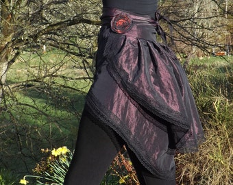 Festival wear,Steampunk bustle, wraparound skirt,cosplay outfit, goth costume, burlesque
