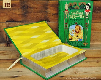 Hollow Book Safe - The Emerald City of Oz - Green Leather Bound