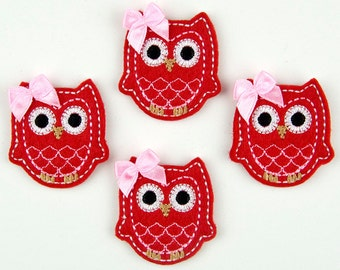 OWL - Embroidered Felt Embellishments / Appliques - Red, Pink & White  (Qnty of 4) SCF6600