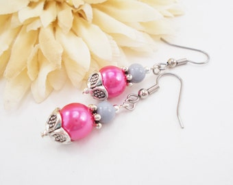 Hot Pink Earrings Gray, Magenta Earrings Handmade, Pearl Drop Earrings, Fuchsia Bridesmaids Gift Spring Wedding Jewelry Sterling Silver