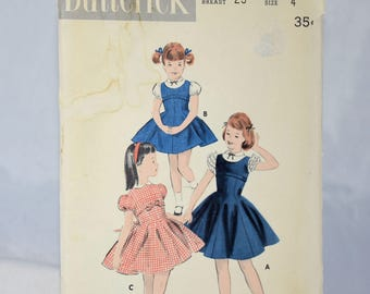 Vintage Butterick Sewing Pattern 7879 Jumper Blouse Dress Girls Size 4 Three Versions Puffed Sleeves Children Back to School Clothes 1940s