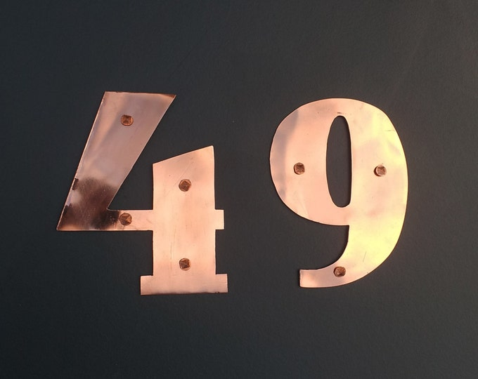 """Art Deco copper house numbers - 5""""/125mm high custom made in polished and hammered finishes, 1 - 6 nos."""