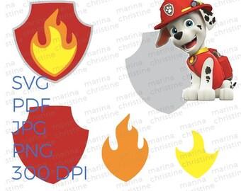 Marshall Badge Puptag Pattern, Cricut, Silhouette - svg, png, jpg, pdf Digital Download for Birthday, Costumes, Halloween