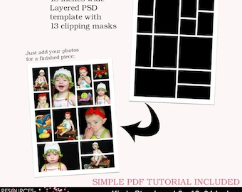Storyboard Template 8 - 18x24 Inches, layered photoshop template for professional photographers, digital instant download, PSD file