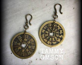 Coin Earrings Chinese earrings Bronze earrings Vintage earrings Rustic earrings Far East earrings Boho earrings Asian jewelry