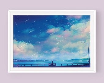 Fantasy Art Poster: Midsummer Night's Dream, Original Art, Poster for Framing, Anime Art, Scenery Art, Anime Poster