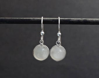 Moonstone Earrings, White Moonstone Earrings, Silver Drop Earrings, Moonstone and Silver, Birthstone Earrings, Sterling Silver