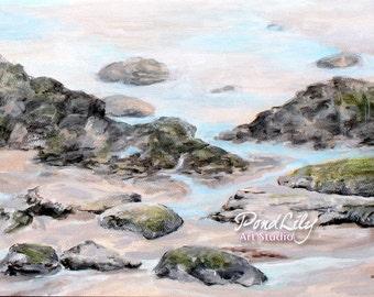 Rocks at Wells Beach Print