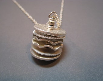 Artifact Inspired Textile Pattern Roller Fine Silver Necklace Vertical - Textile Necklace - Archaeology
