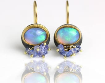 Solid Ethiopian Opal Dangle Earrings with Tanzanite Clusters, 22k, 14k Gold and Silver