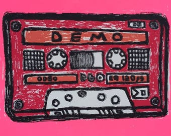 Color DEMOTAPE screenprint in red. 80s throwback tribute to music.  Hand pulled