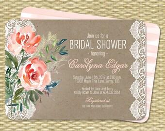 Bridal Shower Invitation, Rustic Bridal Invite, Floral Bridal Shower Card, Printable Bridal Shower Invitation, Peonies, Bridal Invitation