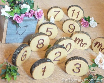 Rustic Wedding Table Numbers Log Slice Table Numbers, Rustic Wood Bark Table Numbers, Event Numbers Seating Display, Wedding Decor Numbers