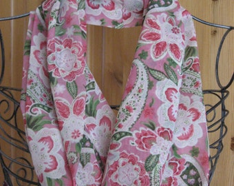 Pink Floral Paisley Infinity Scarf
