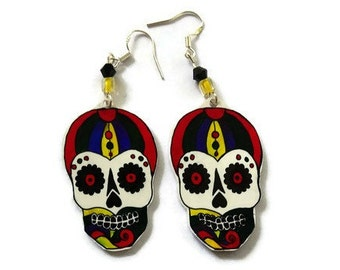 Sugar Skull Drop Earrings,Sterling Silver Fish Hooks,Sterling Silver Earwire,Hand Crafted,Day Of The Dead Earrings, Good For A Gift Or You!6