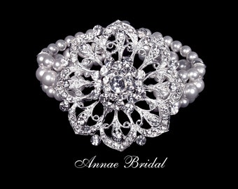 "Bridal jewelry, white pearl and rhinestone flower bracelet, wedding, silver, ""Opulence"" bracelet"